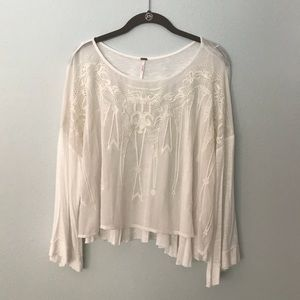 Free People White Gauzy Embroidered Top